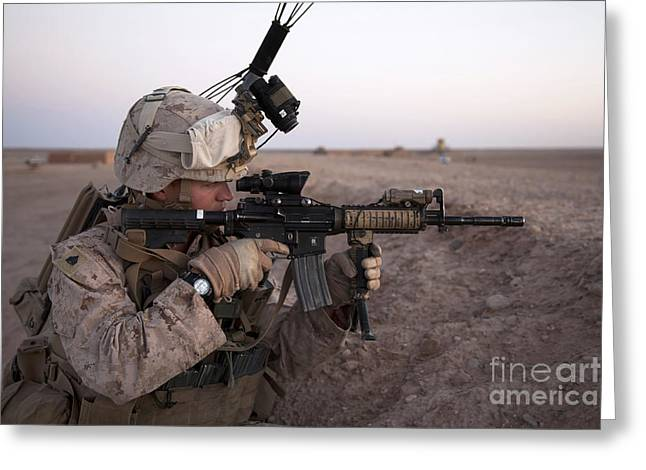 Nato Greeting Cards - U.s. Marine Provides Security At Camp Greeting Card by Stocktrek Images