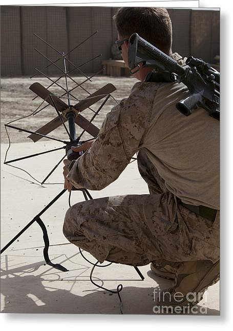 Traffic Control Greeting Cards - U.s. Marine Repositions A Satellite Greeting Card by Stocktrek Images