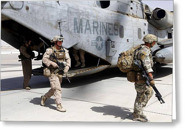 Helmand Province Greeting Cards - U.s. Marines And British Soldiers Exit Greeting Card by Stocktrek Images