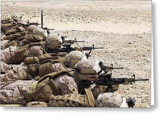 Resolve Greeting Cards - U.s. Marines Conduct A Battlesight Zero Greeting Card by Stocktrek Images