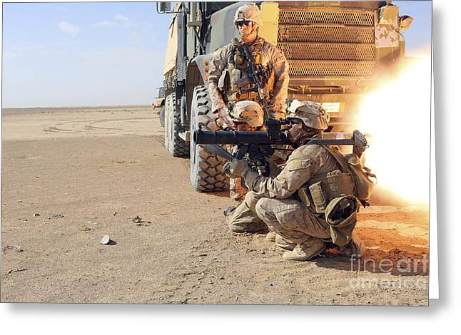 Assault Weapons Greeting Cards - U.s. Marines Conduct A Rocket Range Greeting Card by Stocktrek Images