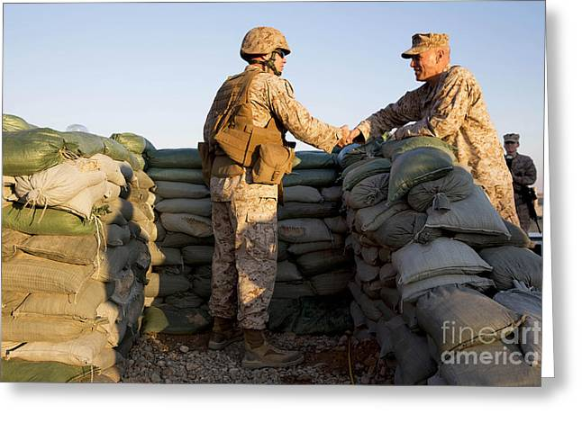 Shaking Hands Greeting Cards - U.s. Marines Greet Each Other At Camp Greeting Card by Stocktrek Images