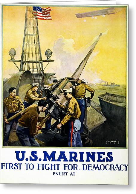 Ww1 Drawings Greeting Cards - US Marines Greeting Card by Leon Alaric Shafer