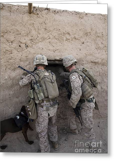 Working Dog Greeting Cards - U.s. Marines Push Down A Wall In An Greeting Card by Stocktrek Images