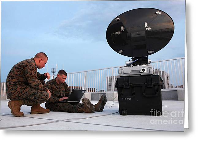 Communication Aids Greeting Cards - U.s. Marines Set Up A Satellite System Greeting Card by Stocktrek Images