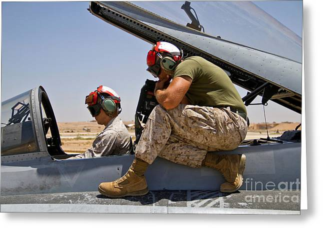 Us Open Photographs Greeting Cards - U.s. Marines Test Aircraft Systems Greeting Card by Stocktrek Images