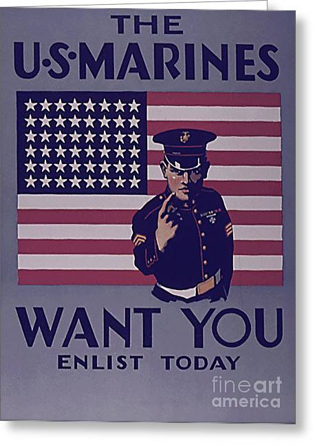 Enlistment Greeting Cards - US Marirnes want You Greeting Card by Christopher Purcell
