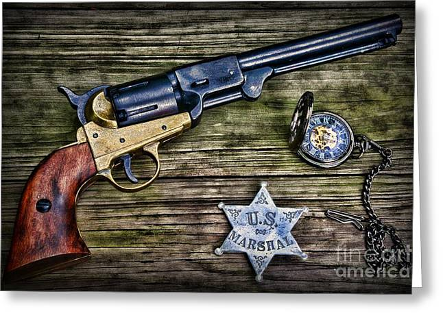 Gunman Greeting Cards - US Marshall - American Justice - Cowboy Greeting Card by Paul Ward