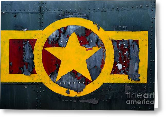 Jet Star Greeting Cards - US military airplane fuselage with weathered stars and stripes logo Greeting Card by Imran Ahmed