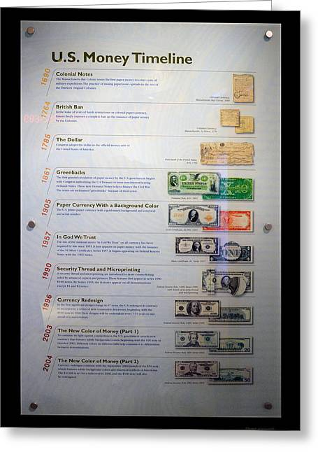 Inflation Greeting Cards - US Money Timeline Greeting Card by Thomas Woolworth