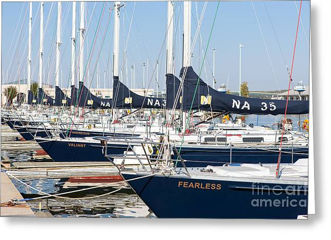 Yacht Basin Greeting Cards - US Navy 44 Sail Training Craft I Greeting Card by Clarence Holmes