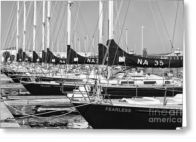 Yacht Basin Greeting Cards - US Navy 44 Sail Training Craft II Greeting Card by Clarence Holmes