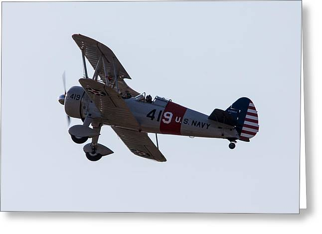 Tail-draggers Greeting Cards - U.S. Navy Biplane Greeting Card by John Ferrante