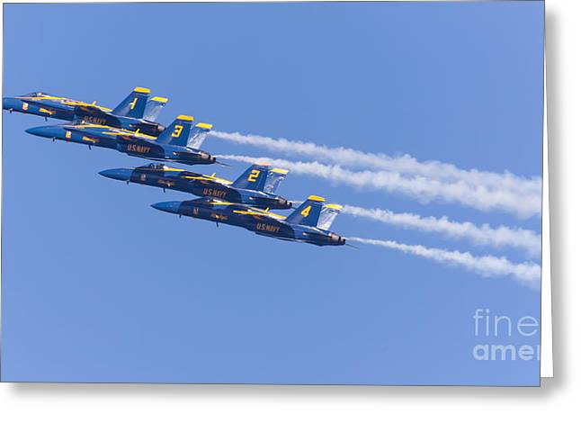 Military Airplanes Greeting Cards - US Navy Blue Angels F18 Supersonic Jets 5D29605 Greeting Card by Wingsdomain Art and Photography