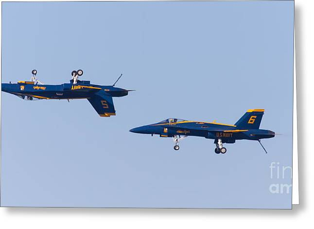 Military Airplanes Greeting Cards - US Navy Blue Angels F18 Supersonic Jets 5D29620 Greeting Card by Wingsdomain Art and Photography