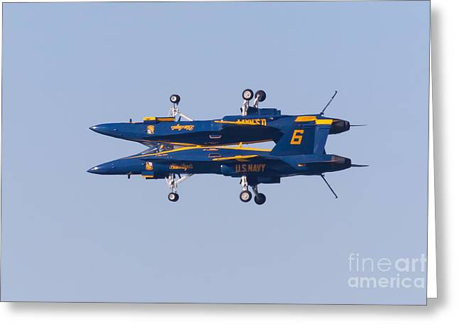 Military Airplanes Greeting Cards - US Navy Blue Angels F18 Supersonic Jets 5D29625 Greeting Card by Wingsdomain Art and Photography