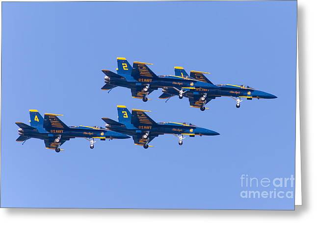 Military Airplanes Greeting Cards - US Navy Blue Angels F18 Supersonic Jets 5D29635 Greeting Card by Wingsdomain Art and Photography