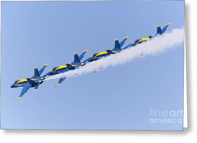 Military Airplanes Greeting Cards - US Navy Blue Angels F18 Supersonic Jets 5D29644 Greeting Card by Wingsdomain Art and Photography