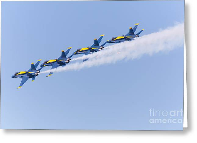 Military Airplanes Greeting Cards - US Navy Blue Angels F18 Supersonic Jets 5D29646 Greeting Card by Wingsdomain Art and Photography