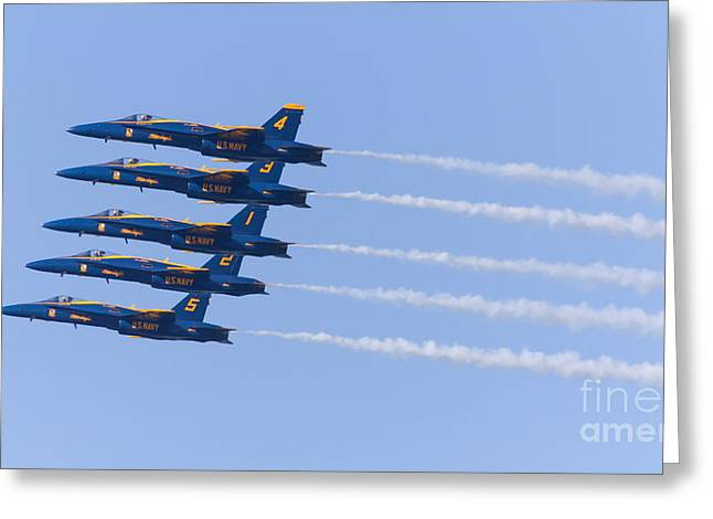 Military Airplanes Greeting Cards - US Navy Blue Angels F18 Supersonic Jets 5D29655 Greeting Card by Wingsdomain Art and Photography