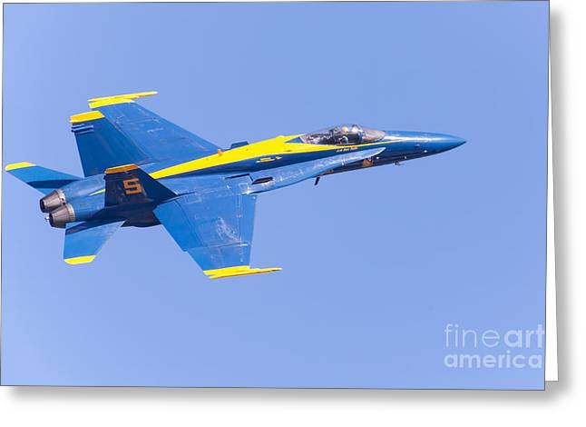 Military Airplanes Greeting Cards - US Navy Blue Angels F18 Supersonic Jets 5D29660 Greeting Card by Wingsdomain Art and Photography