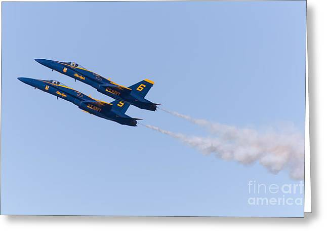 Military Airplanes Greeting Cards - US Navy Blue Angels F18 Supersonic Jets 5D29668 Greeting Card by Wingsdomain Art and Photography