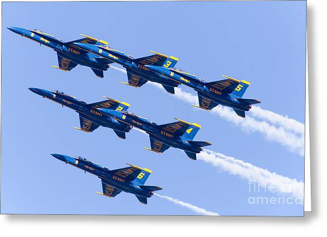 Military Airplanes Greeting Cards - US Navy Blue Angels F18 Supersonic Jets 5D29680 Greeting Card by Wingsdomain Art and Photography