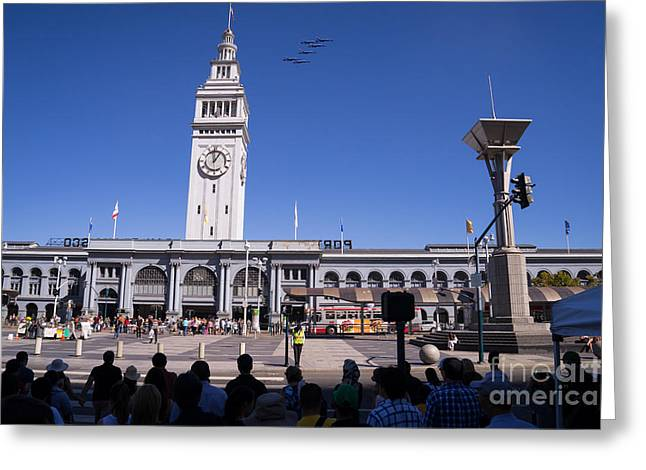 F-18 Greeting Cards - US Navy Blue Angels F18 Supersonic Jets Through San Francisco Ferry Building at Fleet Week DSC1745 Greeting Card by Wingsdomain Art and Photography