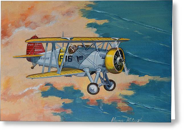 Murray Mcleod Greeting Cards - US Navy Boeing F4B Greeting Card by Murray McLeod