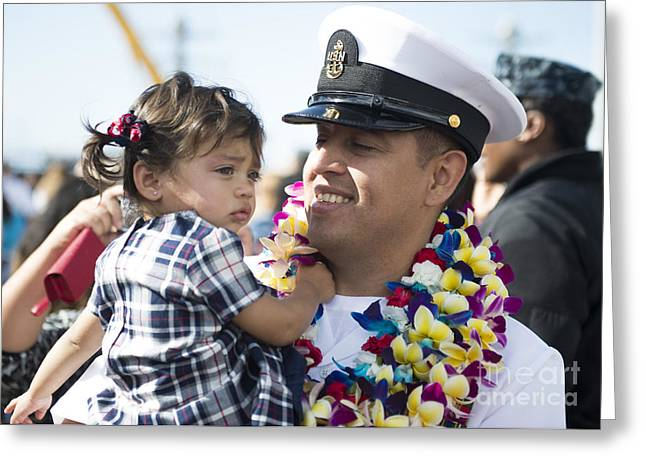 Family With One Child Greeting Cards - U.s. Navy Sailor Holds His Daughter Greeting Card by Stocktrek Images