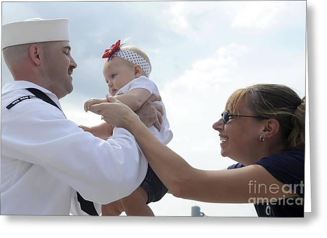 Family With One Child Greeting Cards - U.s. Navy Sailor Is Handed Greeting Card by Stocktrek Images