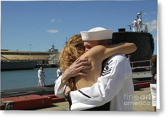 Surprise Greeting Cards - U.s. Navy Sailor Is Surprised Greeting Card by Stocktrek Images