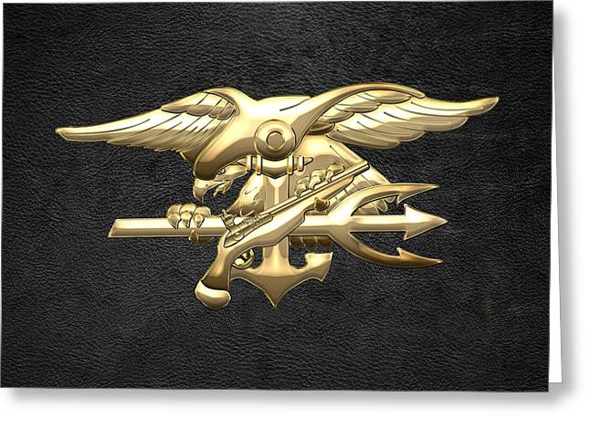 Militaria Greeting Cards - U.S. Navy SEALs Emblem on Black Leather Greeting Card by Serge Averbukh