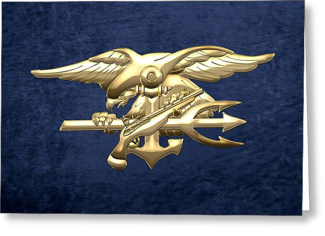 Patch Greeting Cards - U.S. Navy SEALs Emblem on Blue Velvet Greeting Card by Serge Averbukh