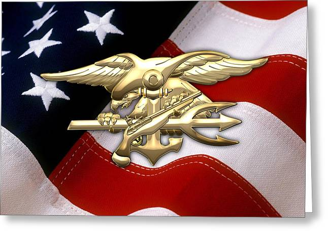 Navy Seals Greeting Cards - U.S. Navy SEALs Emblem over American Flag Greeting Card by Serge Averbukh