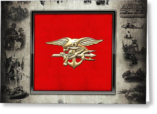 Patch Greeting Cards - U.S. Navy SEALs Trident Emblem over Navy SEALs Collage Greeting Card by Serge Averbukh