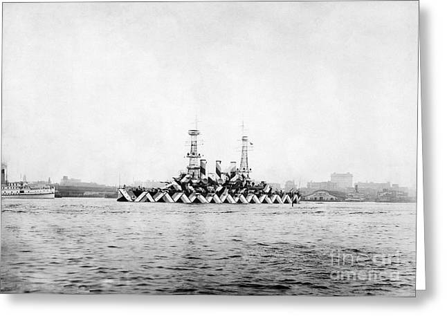 Historic Ship Greeting Cards - Us Navy Ship With Dazzle Camouflage, Wwi Greeting Card by Photo Researchers
