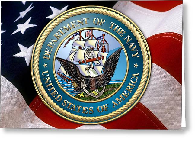Patch Greeting Cards - U.S. Navy - USN Emblem over American Flag Greeting Card by Serge Averbukh