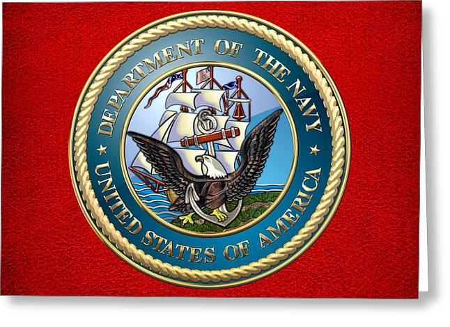 Navy Seals Greeting Cards - U.S. Navy - USN Emblem Greeting Card by Serge Averbukh