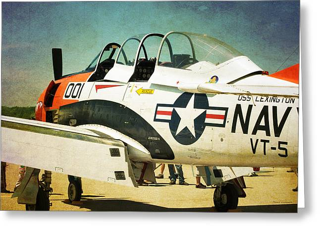 Military Airplanes Greeting Cards - US Navy T28-C Training Plane Greeting Card by Thomas Woolworth