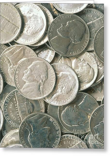 5 Cents Greeting Cards - U.s. Nickels Greeting Card by David N. Davis