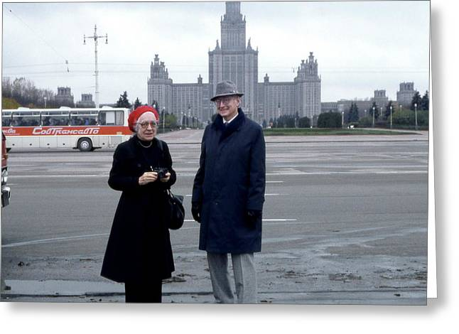 Us Physicists In Moscow Greeting Card by Emilio Segre Visual Archives/american Institute Of Physics
