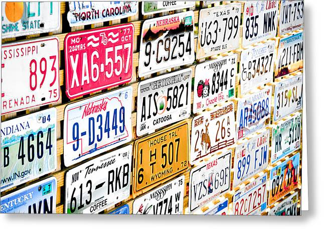 American Automobiles Photographs Greeting Cards - US Plates Greeting Card by Phil