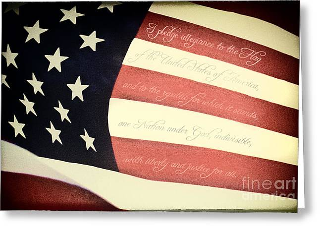 Stars And Strips Greeting Cards - US Pledge on US Flag Greeting Card by Brian Mollenkopf