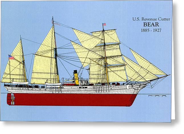 U.s. Coast Guard Greeting Cards -  Revenue Cutter Bear Greeting Card by Jerry McElroy - Public Domain Image