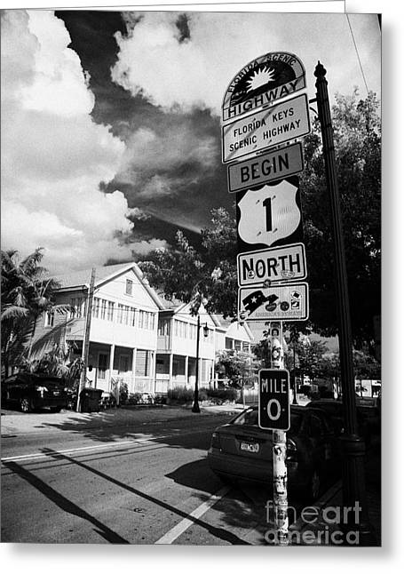 Mile One Greeting Cards - Us Route 1 Mile Marker 0 Start Of The Highway Key West Florida Usa Greeting Card by Joe Fox