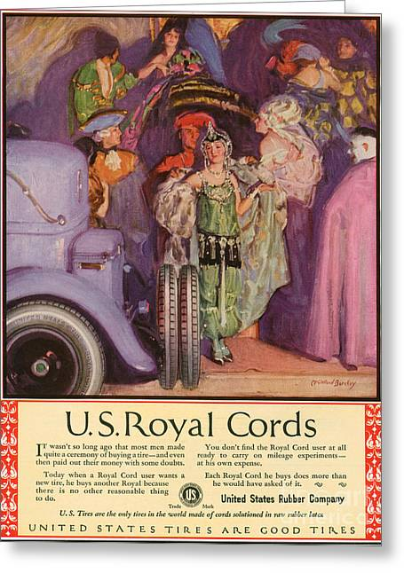 American Automobiles Greeting Cards - Us Royal Cords 1924 1920s Usa Cc Cars Greeting Card by The Advertising Archives