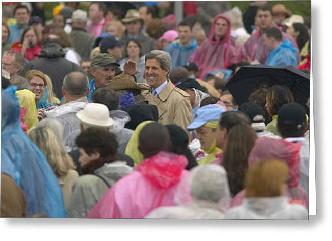 Little Rock Arkansas Greeting Cards - U.s. Senator John Kerry, Amidst Greeting Card by Panoramic Images