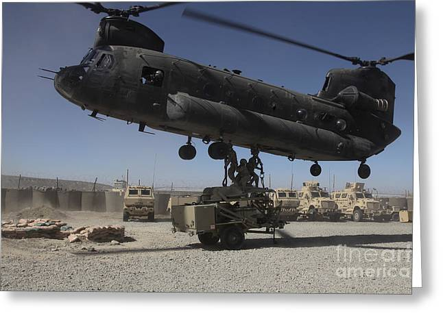 Hovering Greeting Cards - U.s. Soldiers Attach Sling Load Ropes Greeting Card by Stocktrek Images