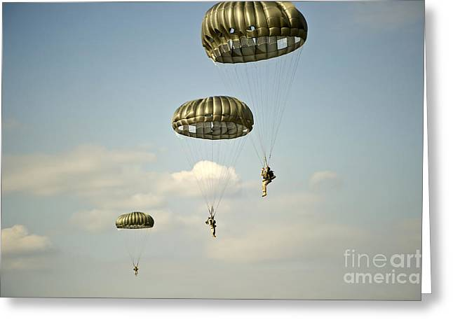 Getting Air Greeting Cards - U.s. Soldiers Descend Through The Sky Greeting Card by Stocktrek Images